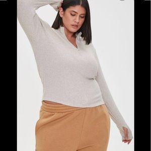 NWT F21 Plus Size Ribbed Half-Size Top